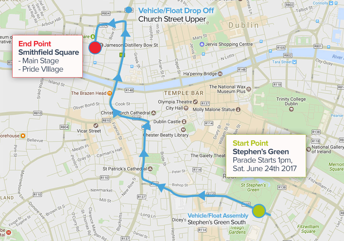 The parade route from Stephens Green to Smithfield via Christchurch